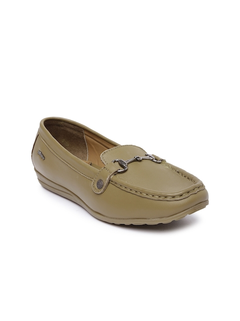 Lee Cooper Women Brown Solid Leather Loafers