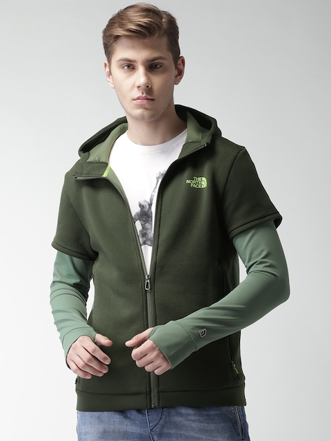 The North Face Green Asian Active Fit Hybrid Fz Hooded Jacket
