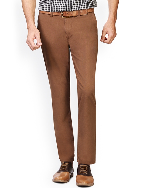 Peter England Men Brown Solid Skinny Fit Chinos