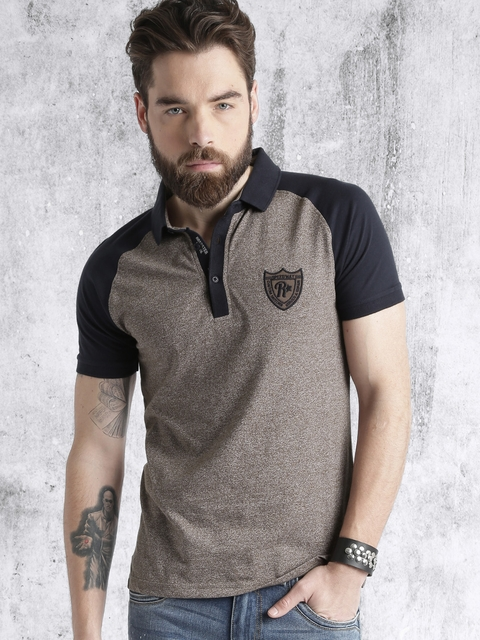 Roadster Men Brown Solid Polo Collar T-Shirt