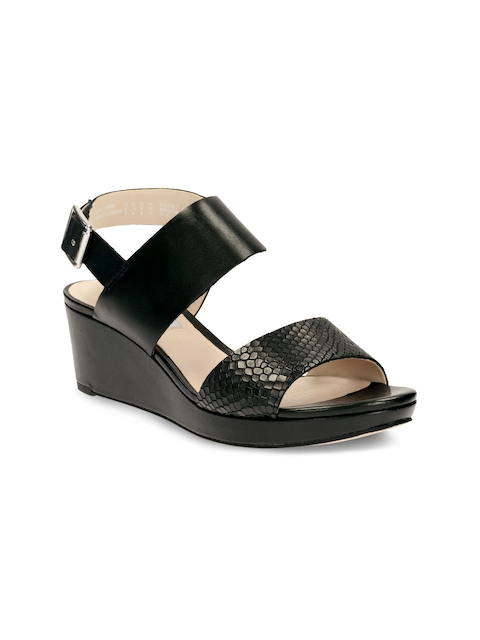 Clarks Women Black Solid Wedges