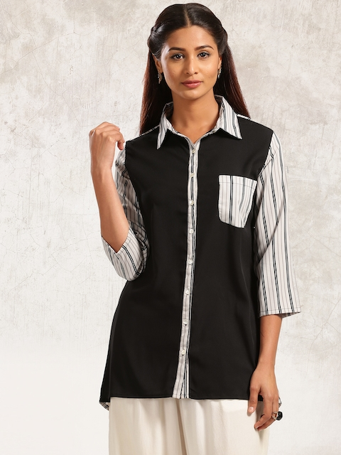 Anouk Women Black & Grey Striped A-Line Kurta