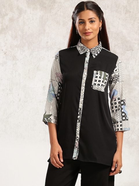 Anouk Women Black & Off-White Printed A-Line Kurta