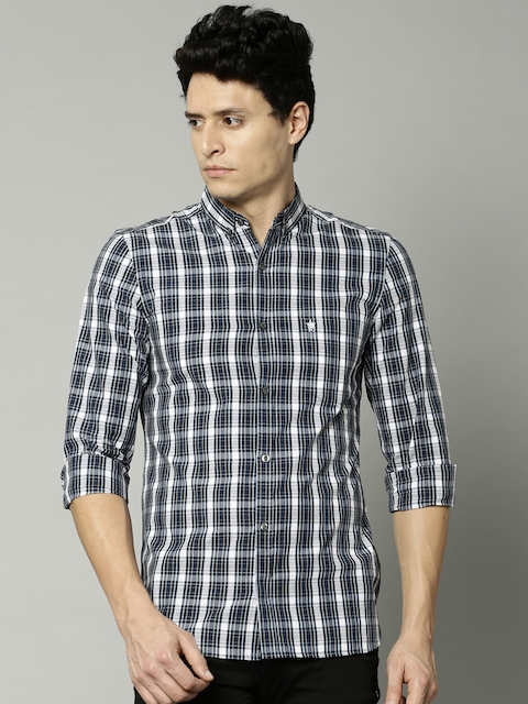 French Connection Men Navy & White Checked Casual Shirt