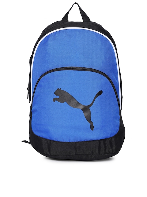 PUMA Unisex Black & Blue Team Cat Printed Backpack
