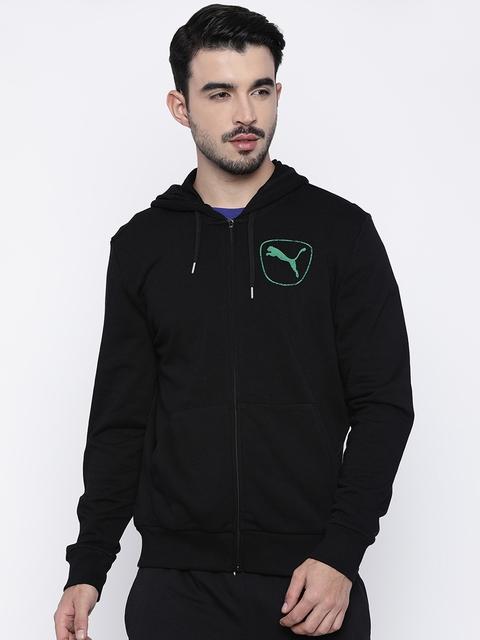 Puma Men Black Solid Hooded Front-Open Sweatshirt