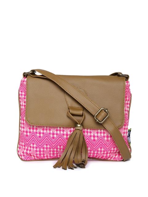 Kanvas Katha Pink & Brown Patterned Sling Bag with Tassel