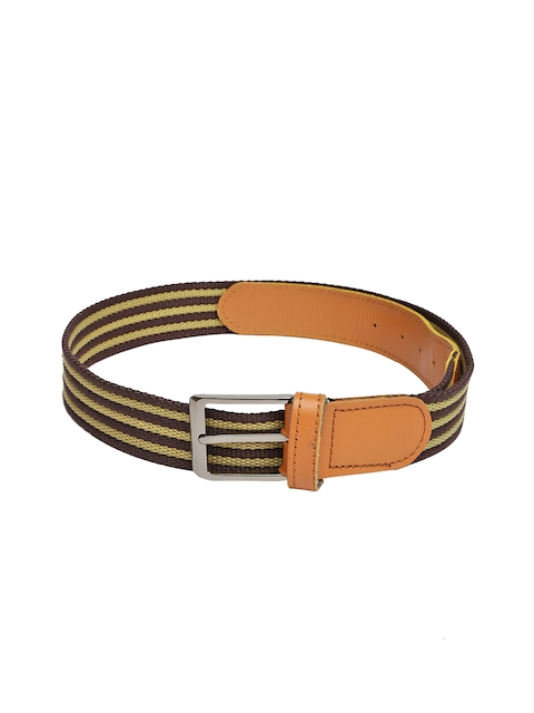 Harvard Men Brown & Beige Striped Belt