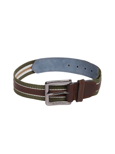 Harvard Men Green & Brown Woven Design Belt