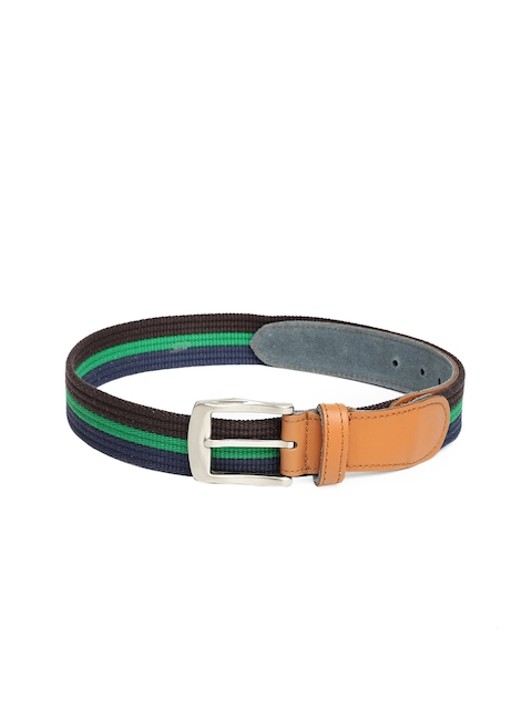 Harvard Men Navy Blue & Brown Striped Belt