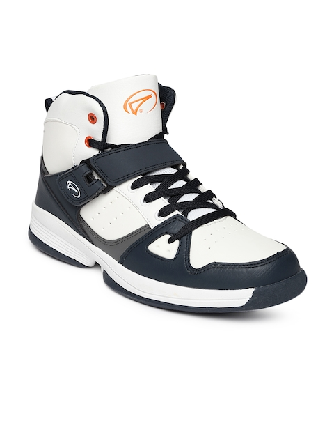 Boltio Men White & Navy High Top Basketball Shoes