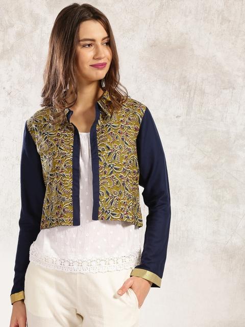Anouk Olive Green & Navy Printed Front-Open Bolero Jacket