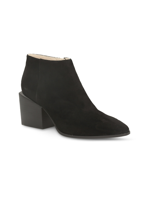 Clarks Women Black Solid Suede Heeled Boots