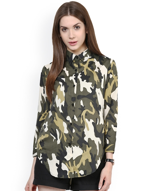 Zima Leto Women Olive Regular Fit Printed Casual Shirt  available at myntra for Rs.279