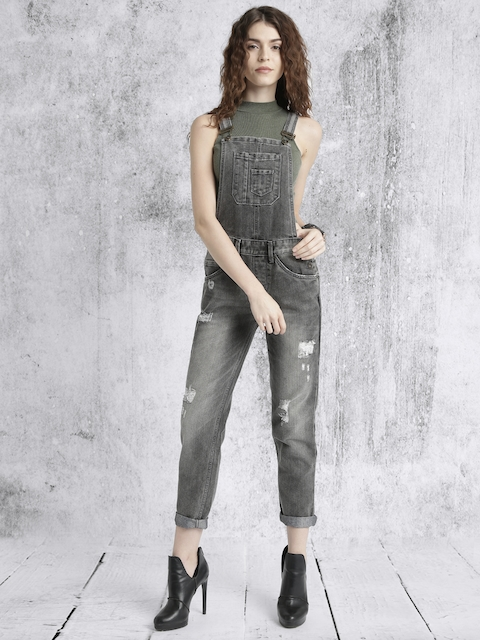 Roadster Charcoal Grey Washed Denim Dungarees
