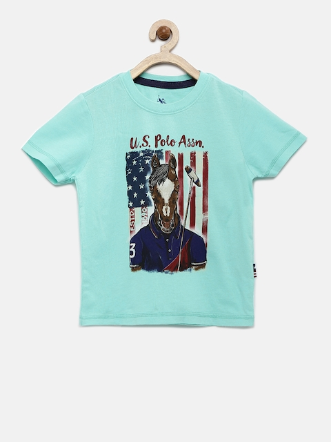 U.S. Polo Assn. Kids Boys Blue Printed T-shirt  available at myntra for Rs.419