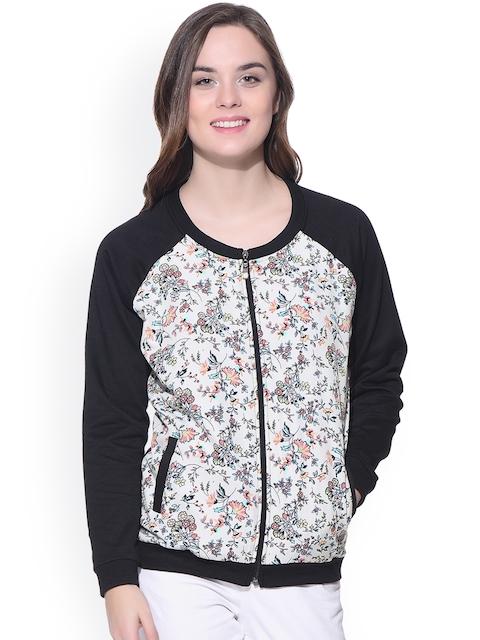 PURYS Black & White Floral Print Fleece Bomber Jacket