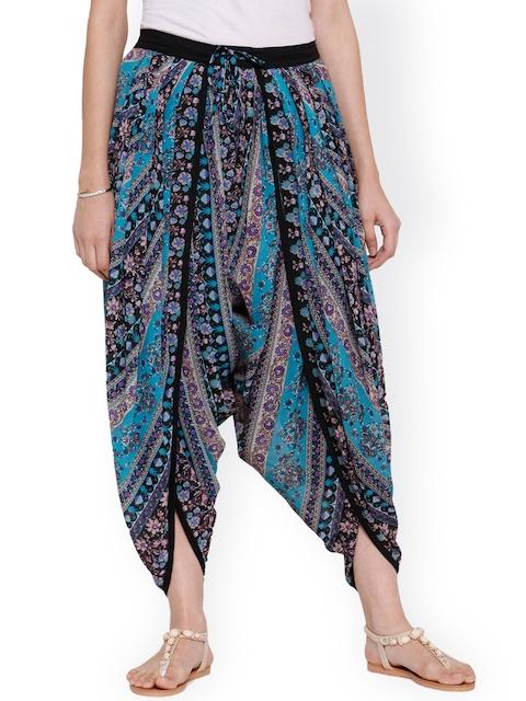 Ayaany Blue Floral Print Georgette Dhoti Pants