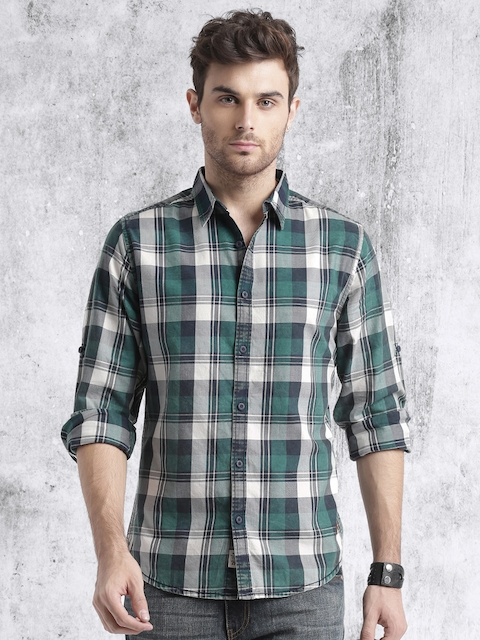 Roadster Men Green & Navy Checked Casual Shirt