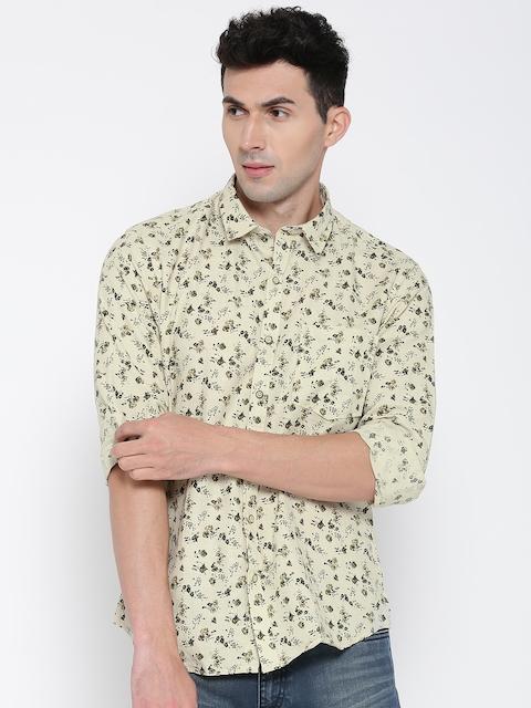 John Players Men Beige Printed Casual Shirt