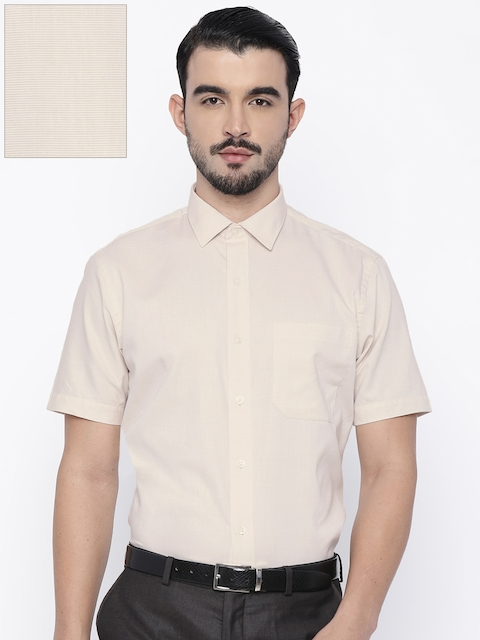 John Players Men Beige Slim Fit Self Design Formal Shirt