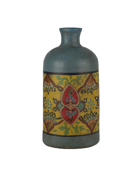 FABULIV Blue & Yellow Handpainted Cylindrical Teracotta Vase