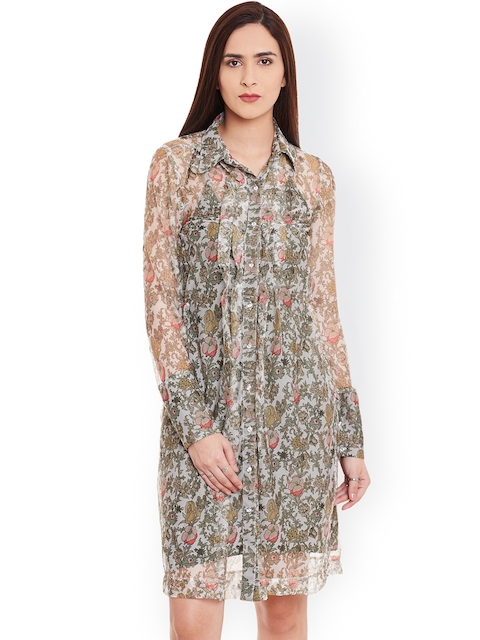 Cherymoya Women Off-White Floral Print Sheer Shirt Dress  available at myntra for Rs.362