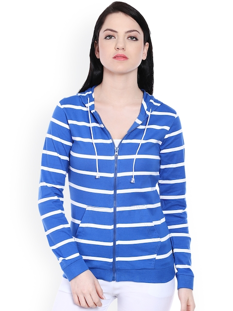 Style Quotient Blue & White Striped Hooded Jacket
