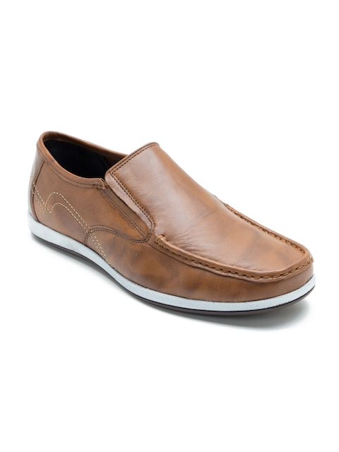 Franco Leone Men Tan Brown Leather Semiformal Shoes