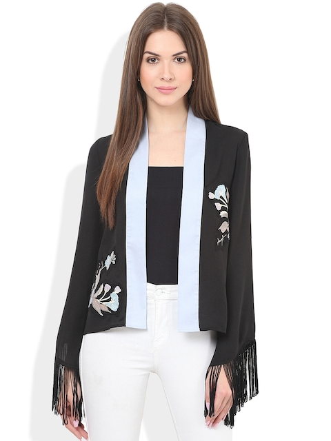 Honey & B Black Embroidered Open-Front Jacket