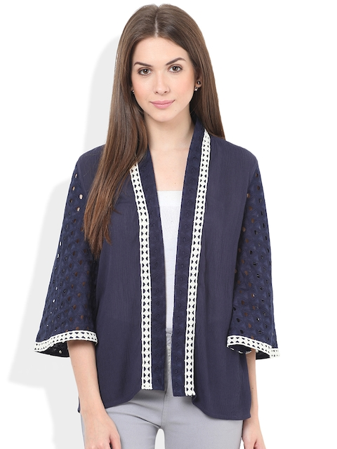 Honey & B Navy Cut-Out Detail Open-Front Jacket