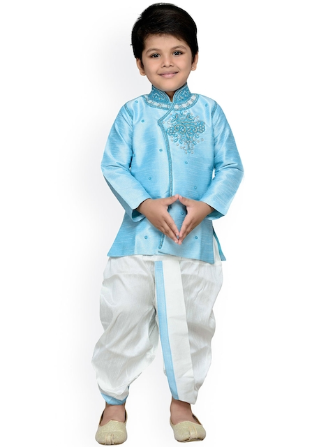 Aj DEZInES Boys Blue & White Embellished Dhoti Set