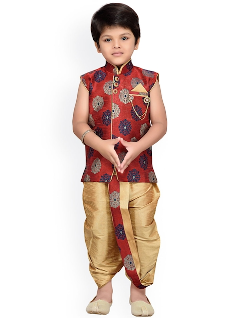 Aj DEZInES Boys Maroon & Gold-Toned Embellished Dhoti Set with Woven Design