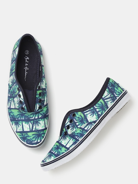 Mast & Harbour Women Navy Printed Casual Shoes