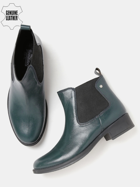 Roadster Women Teal Blue Mid-Top Genuine Leather Flat Boots