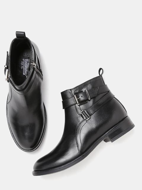 Roadster Women Black Genuine Leather Flat Boots