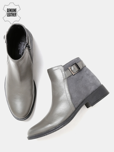 Roadster Women Grey Mid-Top Genuine Leather Flat Boots