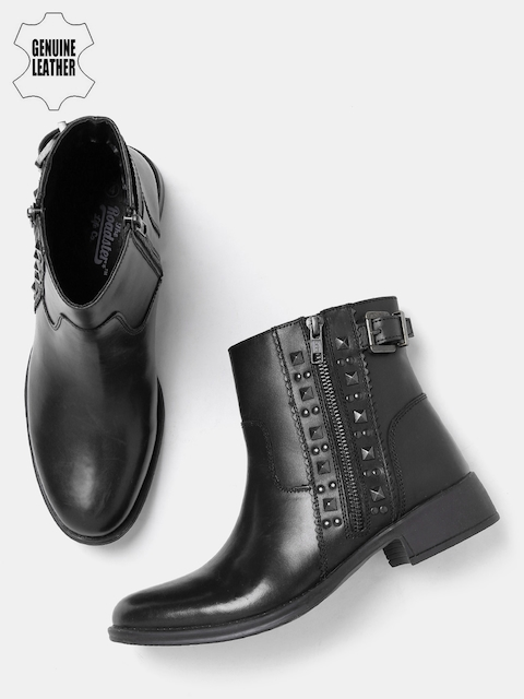 Roadster Women Black Solid Mid-Top Genuine Leather Flat Boots