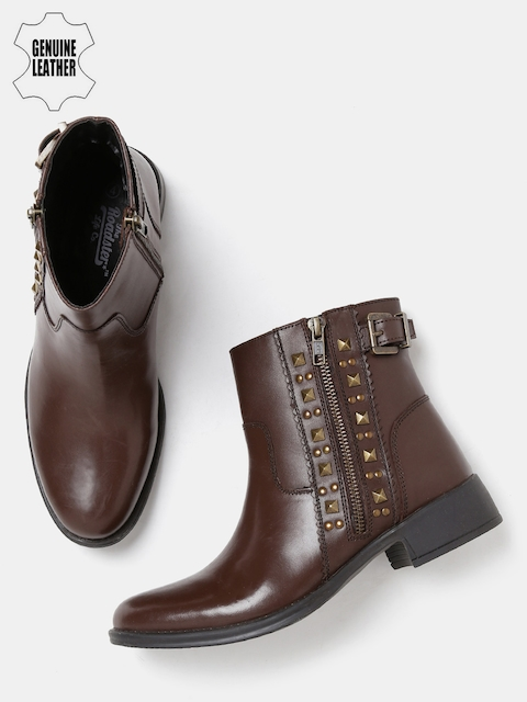 Roadster Women Brown Solid Mid-Top Genuine Leather Flat Boots