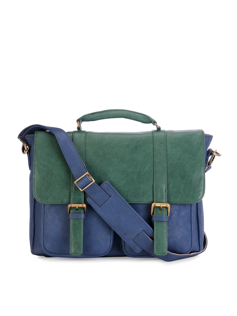 Mohawk Unisex Blue & Green Colourblocked Laptop Bag