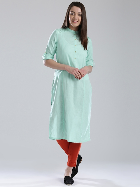 W Women Mint Green Solid Pathani Kurta