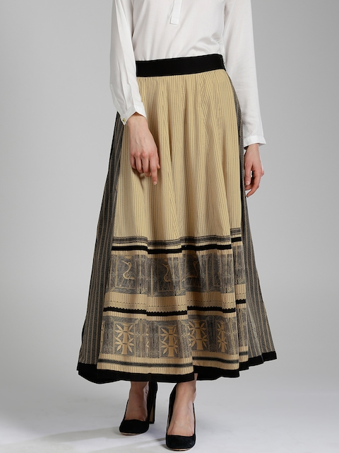 W Black & Beige Printed Flared Maxi Skirt