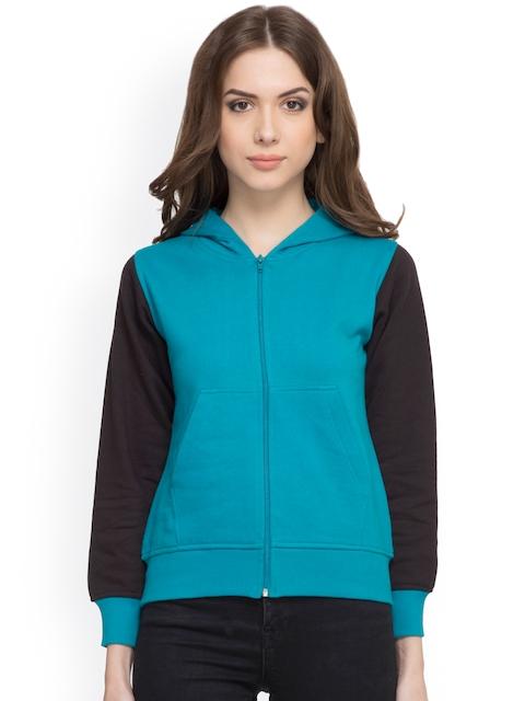 RARE Blue & Black Colourblocked Hooded Jacket
