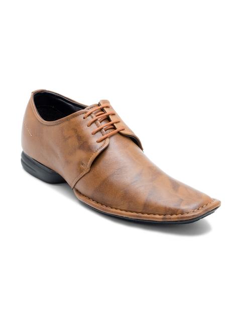 Franco Leone Men Tan Brown Genuine Leather Derbys