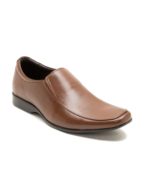 Franco Leone Men Tan Brown Genuine Leather Formal Shoes