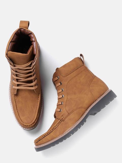 Roadster Men Tan Brown Solid High-Top Flat Boots
