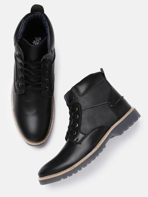 Roadster Men Black Solid High-Top Flat Boots