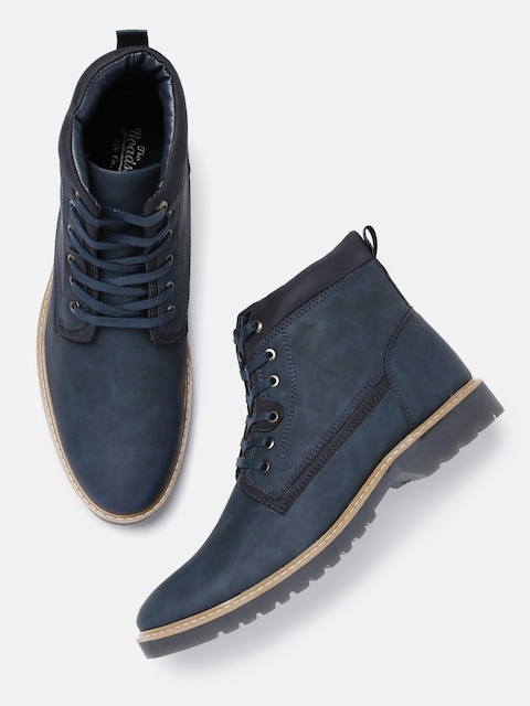 Roadster Men Navy Blue Solid High-Top Flat Boots