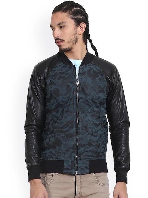 Wear Your Mind Blue Camouflage Print Bomber Jacket