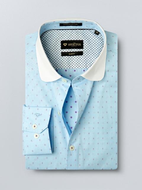 INVICTUS Men Blue Slim Fit Patterned Formal Shirt